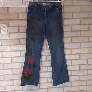 Bisou Bisou Jeans Floral Embellished Beaded Sz 4